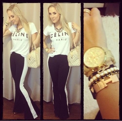 calça bandage preto listra branco bruna manzon look celine paris compra online kju