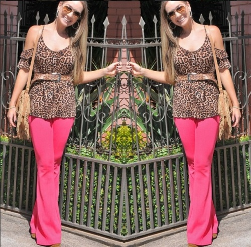 calça bandage rosa pink kju inverno tendencia blusa onça