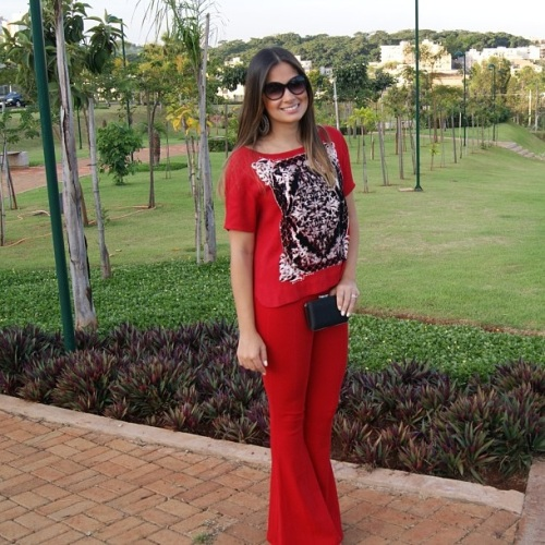 calça vermelha compra online kju