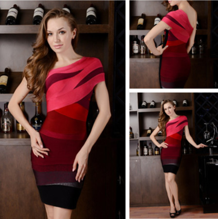 Berry-Ombre-One-Shoulder-Bandage-Dresses